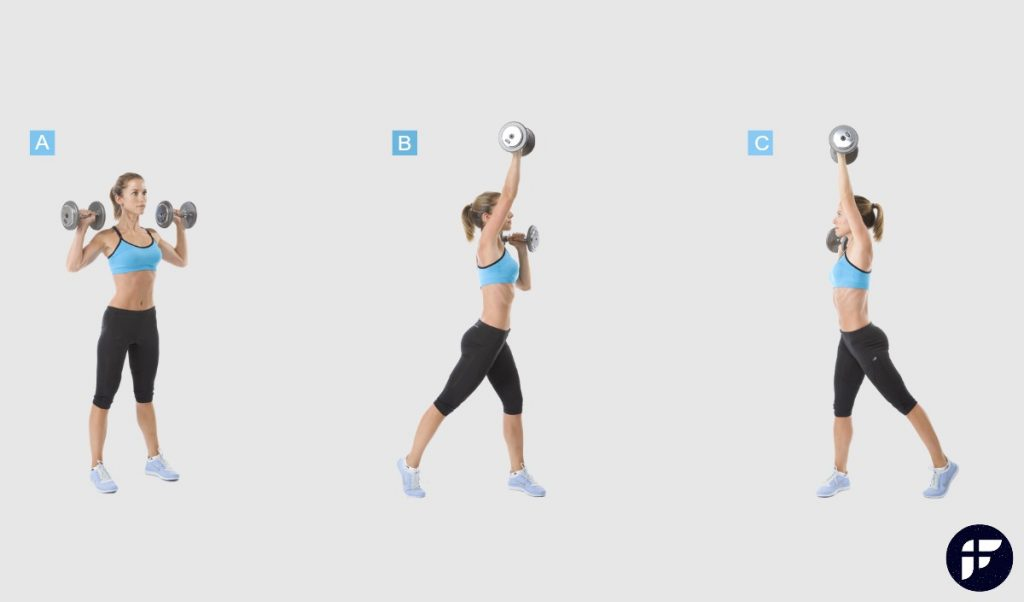 Alternating shoulder press and twist