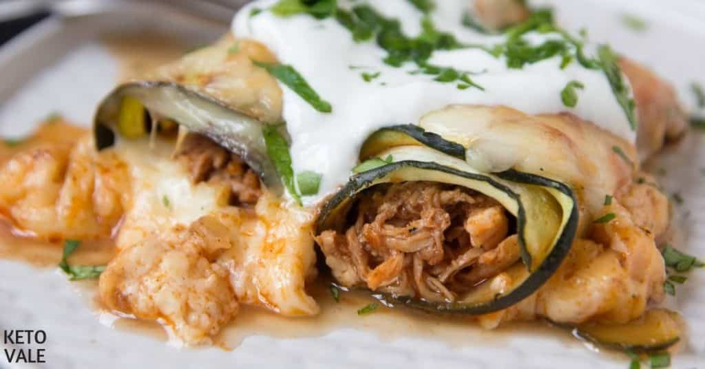 Low Carb Chicken Zucchini Enchilada