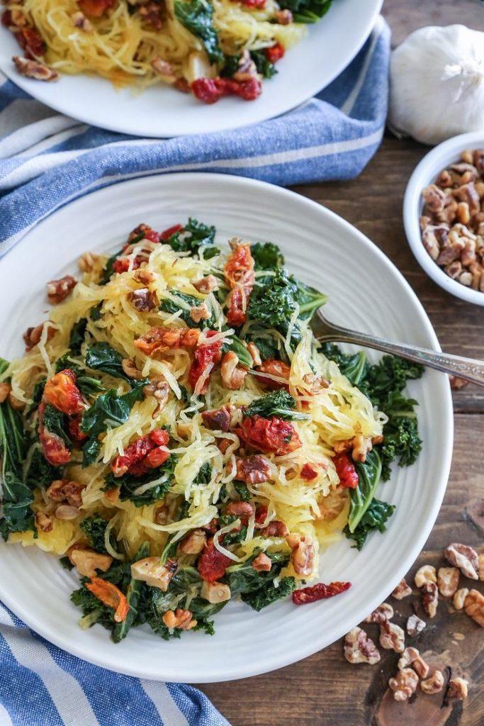 Spaghetti Squash Pasta with Sun-Dried Tomato, Garlic, and Basil