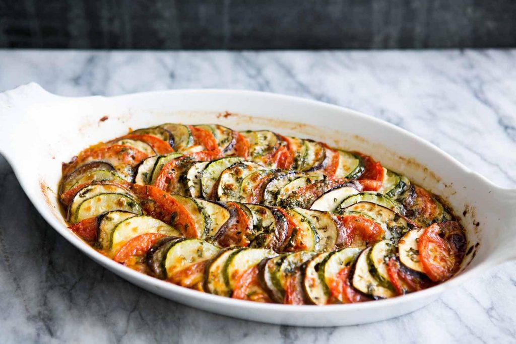 Tomato Zucchini Pesto Bake