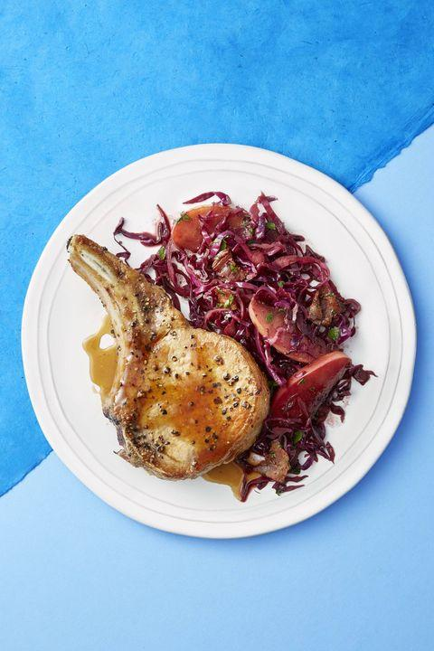 Apples and Balsamic Braised Cabbage Pork Chops