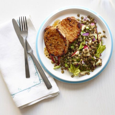 Lentil and Apple Salad Seared Pork Chops